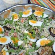 Vegetarische couscoussalade met geroosterde aubergine