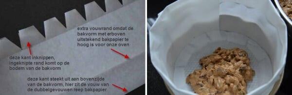 Engelse kerstcake: inknippen bakpapier en vullen bakvorm