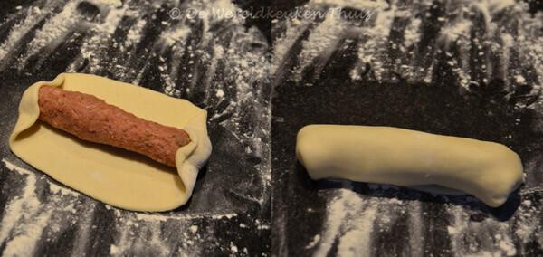 worstenbroodjes - vormen van de broodjes